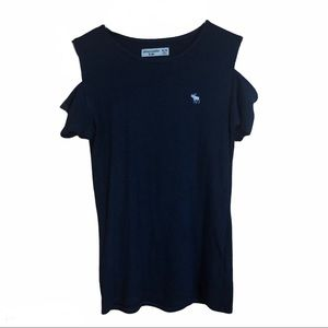Abercrombie Kids navy blue cold shoulder top
